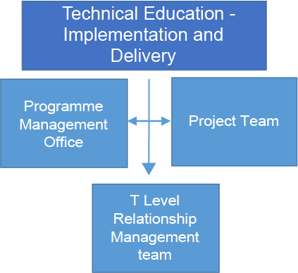 Organisational chart showing that the Technical education implementation and delivery team consisted of the programme management office, project team and T Level relationship managers