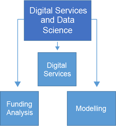 Chart showing that the Digital and data science team consists of the digital services, funding analysis and modelling teams