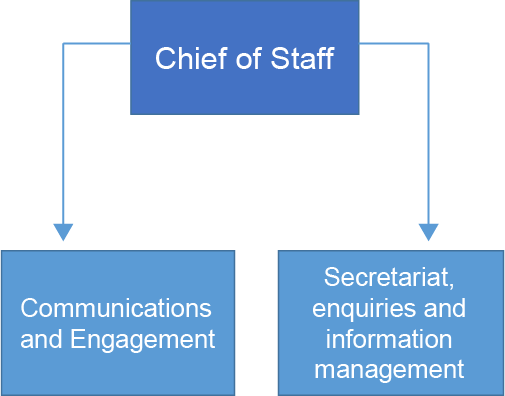 Chart showing that the Chief of staff team consisted of the communication, engagement, secretariat, enquiries and information management teams
